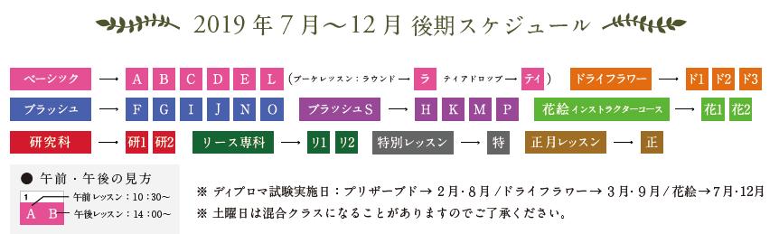 フラワーアレンジメント教室スケジュール表の見方