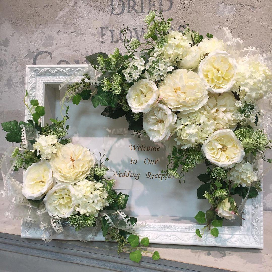 結婚式フラワーアレンジメント手作り教室 白いバラのウェルカムボードできました